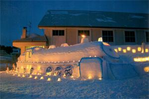 魚沼市観光協会長賞:SLと雪灯り 入広瀬コミ協 雪明り雪中行群